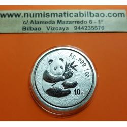 CHINA 10 YUAN 2000 OSO PANDA y PAGODA MONEDA DE PLATA @MUY RARA y PERFECTA@ 1 ONZA OZ OUNCE TROY Silver