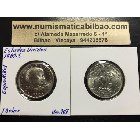 ESTADOS UNIDOS 1 DOLAR 1980 S SUSAN B. ANTHONY AGUILA SOBRE LA LUNA KM.207 MONEDA DE NICKEL SC USA 1 Dollar