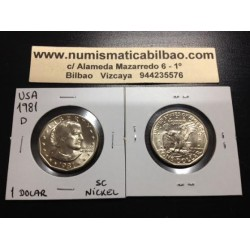 ESTADOS UNIDOS 1 DOLAR 1981 D SUSAN B. ANTHONY AGUILA SOBRE LA LUNA KM.207 MONEDA DE NICKEL SC USA 1 Dollar