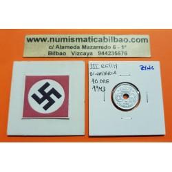 DINAMARCA 10 ORE 1943 VALOR KM.822.2A MONEDA DE ZINC OCUPACION NAZI III REICH WWII Denmark
