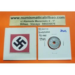 DINAMARCA 10 ORE 1944 VALOR KM.822.2A MONEDA DE ZINC OCUPACION NAZI III REICH WWII Denmark