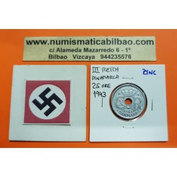 DINAMARCA 25 ORE 1943 LETRAS CX-R BAJO CORONA KM.823.2A MONEDA DE ZINC OCUPACION NAZI III REICH WWII Denmark