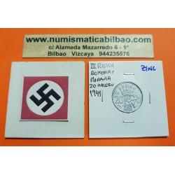 BOHEMIA y MORAVIA 20 HALERU 1941 Hoy Chekia KM.2 MONEDA DE ZINC OCUPACION NAZI III REICH WWII 1