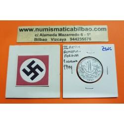 BOHEMIA y MORAVIA 1 KORUNA 1944 LEON Hoy Chekia KM.4 MONEDA DE ZINC OCUPACION NAZI III REICH WWII Hoy Chekia