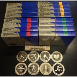 ESPAÑA 16 monedas de 2000 PESETAS 1990 + 1991 + 1992 OLIMPIADA DE BARCELONA 92 PLATA PROOF ESTUCHES OFICIALES FNMT