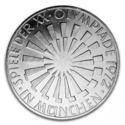 ALEMANIA 10 MARCOS 1972 G OLIMPIADA DE MUNICH 72 ANAGRAMA CIRCULAR KM.134 MONEDA DE PLATA SC GERMANY MARKS SILVER