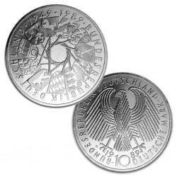 ALEMANIA 10 MARCOS 1989 G 40 AÑOS DE LA REPUBLICA KM.173 MONEDA DE PLATA SC Germany 10 Marks silver BRD