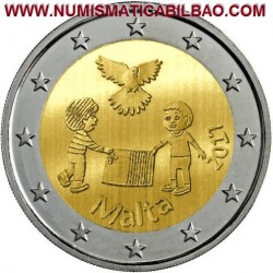 MALTA 2 EUROS 2017 PALOMA DE LA PAZ y NIÑOS JUGANDO SC MONEDA CONMEMORATIVA @ESCASA@