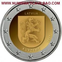 LETONIA 2 EUROS 2017 ESCUDO CON LEON DE LA REGION DE KURZEME SC MONEDA CONMEMORATIVA