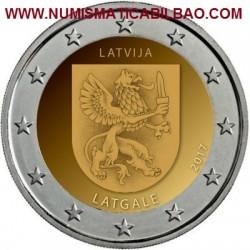 LETONIA 2 EUROS 2017 ESCUDO CON DRAGON y ESPADA DE LA REGION DE LATGALE SC MONEDA CONMEMORATIVA