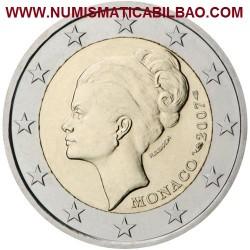 @OFERTA - LA MONEDA EURO MAS RARA@ MONACO 2 EUROS 2007 PRINCESA GRACE KELLY ESTUCHE OFICIAL y CERTIFICADO