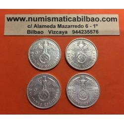 @OFERTA@ ALEMANIA 2 MARCOS 1936 1937 1938 1939 AGUILA y ESVASTICA NAZI III REICH @RARAS@ 4 MONEDAS DE PLATA 2 Reichsmark