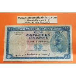 TIMOR 50 ESCUDOS 1967 REGULO D.ALEIXO Pick 27 BILLETE CIRCULADO Ex-colonia de Portugal banknote