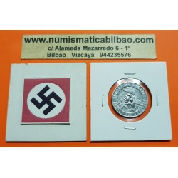 @MUY RARA@ ALEMANIA módulo 1 REICHSMARK 1938 GRAN ESVASTICA PUÑO CON MARTILLO MONEDA DE ALUMINO TOKEN FICHA NAZI