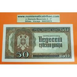 SERBIA 50 DINARA 1942 PEDRO II Pick 22 BILLETE SC @ARRUGA@ Serbien 10 Dinar EX-YUGOSLAVIA OCUPACION NAZI WWII