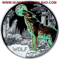 @AGOTADA y RARA@ AUSTRIA 3 EUROS 2017 LOBO MONEDA DE NICKEL A COLORES SC @SE ILUMINA EN LA NOCHE@ Österreich WOLF Euro Coin