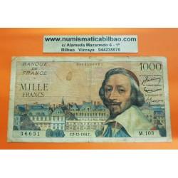 FRANCIA 1000 FRANCOS 1954 CARDENAL RICHELIEU y PALACIO Serie M-103 36651 Pick 134 BILLETE CIRCULADO @RARO@ France 1000 Francs