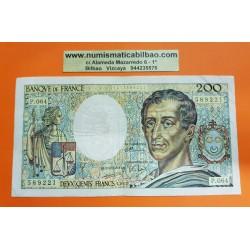 FRANCIA 200 FRANCOS 1989 FILOSOFO MONTESQUIEU y CASTILLO Serie P.064 589221 Pick 155 BILLETE CIRCULADO France 200 Francs