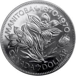 CANADA 1 DOLAR 1970 CENTENARIO DE MANITOBA FLORES KM.78 MONEDA DE NICKEL SC- $1 Dollar