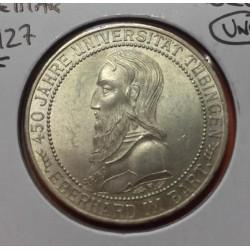 ALEMANIA 3 MARCOS 1927 F WEIMAR Republic UNIVERSITAT TUBINGEN KM.54 MONEDA DE PLATA SC @MUY RARA@ 3 Reichsmark silver