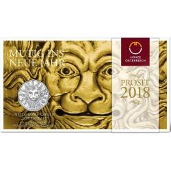 AUSTRIA 5 EUROS 2018 BUSTO DE LEON LION IN WINTER MONEDA DE PLATA SC Osterreich 5 Euro silver coin