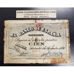 ESPAÑA BANCO DE SANTANDER 100 PESETAS 1936 ANTEFIRMA DEL BANCO ESPAÑOL DE CREDITO 032302 BILLETE DE LA GUERRA CIVIL