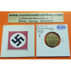 ALEMANIA 10 REICHSPFENNIG 1937 E AGUILA SOBRE ESVASTICA NAZI KM.92 MONEDA DE LATON @RARA@ III REICH Germany