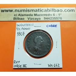 INGLATERRA 1/2 PENIQUE 1807 BRITANNIA y REY JORGE III KM.662 MONEDA DE COBRE @ESCASA@ UK Half Penny coin