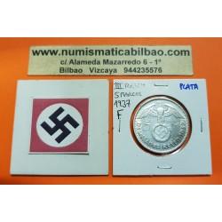 ALEMANIA 5 MARCOS 1937 F AGUILA y ESVASTICA NAZI III REICH KM.94 MONEDA DE PLATA Germany 5 Reichsmark
