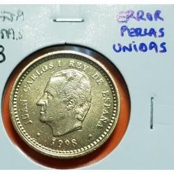 @ERROR PERLAS UNIDAS@ ESPAÑA 100 PESETAS 1998 JUAN CARLOS I MONEDA DE LATON @LUJO@ VARIANTE CATALOGADA