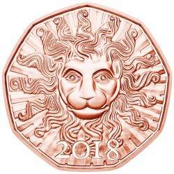 AUSTRIA 5 EUROS 2018 BUSTO DE LEON LION IN WINTER MONEDA DE COBRE SC Osterreich 5 Euro copper coin