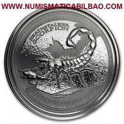 @1 ONZA 2017@ CHAD 500 FRANCOS 2017 ESCORPION DEATHSTALKER MONEDA DE PLATA SC 999 fine silver OZ OUNCE CAPSULA