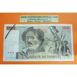FRANCIA 100 FRANCOS 1990 DELACROIX Serie B.179 Pick 154E BILLETE MBC- @AGUJERITOS@ France 100 Francs banknote