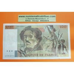 FRANCIA 100 FRANCOS 1990 DELACROIX Serie G.160 Pick 154E BILLETE MBC France 100 Francs banknote