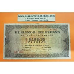 ESPAÑA 100 PESETAS 1938 BURGOS CASA DEL CORDON Serie D 6948101 Pick 113 BILLETE MUY CIRCULADO @ROTOS@ Spain banknote