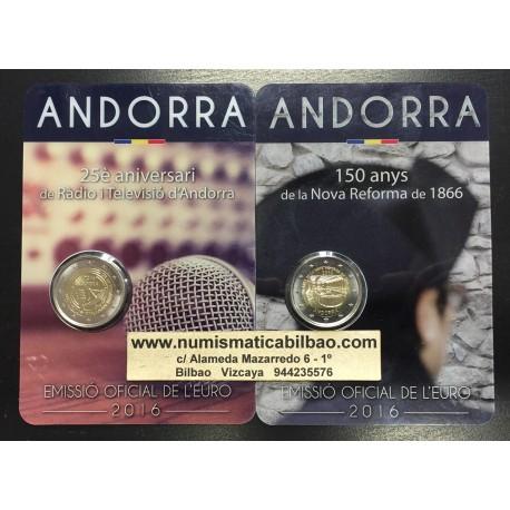 ANDORRA 2 EUROS 2016 Pareja de 2 monedas TELEVISION + REFORMA DE 1866 SC @RARAS@ Fecha de emisión Andorra 2 Euros 2017