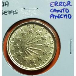 @ERROR CANTO ANCHO@ ESPAÑA 100 PESETAS 1993 AÑO SANTO XACOBEO MONEDA DE LATON SIN CIRCULAR JUAN CARLOS I VARIANTE CATALOGADA