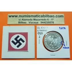 ALEMANIA 5 MARCOS 1935 J CANCILLER HINDENBURG y AGUILA SIN ESVASTICA NAZI III REICH KM.86 MONEDA DE PLATA Germany 5 Reichsmark