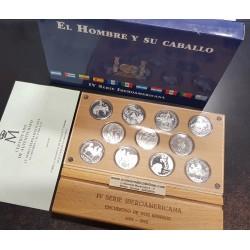 ESPAÑA IV SERIE IBEROAMERICANA 4ª 2000 EL HOMBRE y SU CABALLO 11 MONEDAS DE PLATA PROOF ESTUCHE y CERTIFICADO FNMT