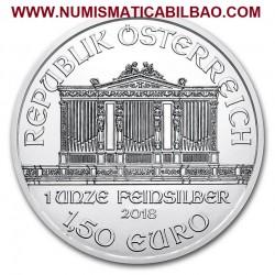 @1 ONZA 2018@ AUSTRIA 1,50 EUROS 2018 FILARMONICA MONEDA DE PLATA PURA 999 SC OZ OUNCE Österreich silver Philharmonic EURO