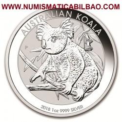 @1 ONZA 2018@ AUSTRALIA 1 DOLAR 2018 KOALA EN RAMA MONEDA DE PLATA PURA SC $1 Dollar Coin OZ OUNCE silver bullion