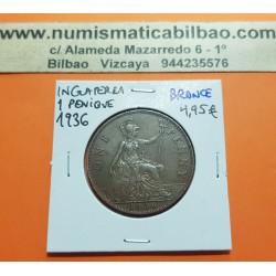 INGLATERRA 1 PENIQUE 1936 BRITANNIA JORGE V KM.838 MONEDA DE BRONCE MBC++ UK penny coin