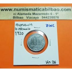 ALEMANIA 10 PFENNIG 1920 AGUILA DEL IMPERIO DEUTSCHES REICH KM.26 MONEDA DE ZINC MBC++ Germany 10 Rpf