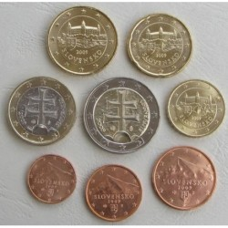 ESLOVAQUIA MONEDAS EUROS 2009 SC 1+2+5+10+20+50 Centimos + 1 EURO + 2 EUROS SERIE SLOVAKIA
