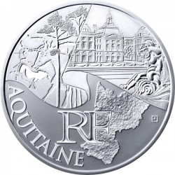 FRANCIA 10 EUROS 2011 Serie REGIONES - AQUITAINE PALACIO KM.1727 MONEDA DE PLATA SC France 10 Euro silver coin