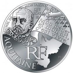 FRANCIA 10 EUROS 2012 Serie REGIONES - AQUITAINE MONTAIGNE KM.1863 MONEDA DE PLATA SC France 10 Euro silver coin