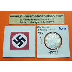 @OFERTA@ ALEMANIA 2 MARCOS 1936 D AGUILA y ESVASTICA NAZI KM.93 III REICH @ESCASA@ MONEDA DE PLATA Germany 2 Reichsmark