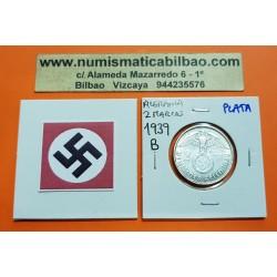 ALEMANIA 2 MARCOS 1939 B AGUILA y ESVASTICA NAZI III REICH KM.93 MONEDA DE PLATA Germany 2 Reichsmark