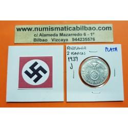 ALEMANIA 2 MARCOS 1939 J AGUILA y ESVASTICA NAZI III REICH KM.93 MONEDA DE PLATA Germany 2 Reichsmark