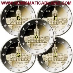 ALEMANIA 2 EUROS 2018 Cecas A+D+F+G+J ESTADO DE BERLIN PALACIO DE CHARLOTTENBURG SC 5 MONEDAS CONMEMORATIVA Germany Euro coin